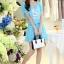 ชุดเดรสสั้นน่ารักๆ สีฟ้า ผ้าชีฟอง สกรีนตัวเลข คอกลม เอวยืด ซับใน ขนาดไซส์ L thumbnail 2