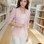 เสื้อสูททำงานผู้หญิงสวยๆ สีชมพูโอรส ผ้าลูกไม้ผสมเลื่อมทอง ทรงเข้ารูป แขนยาว แต่งกระเป๋าหลอก ขนาดไซส์ M