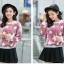 เสื้อแฟชั่นเกาหลีน่ารักๆ สีม่วง พิมพ์ลายเก๋ๆ ผ้าขนนุ่มสบาย คอกลม แขนยาว เอวจั๊ม thumbnail 4