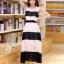 ชุดเดรสยาวแฟชั่นเกาหลี สีขาว-ดำ ผ้าชีฟอง คอกลม แขนกุด เอวยืด ซับใน ขนาดไซส์ L thumbnail 2