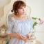 ชุดเดรสสั้นเกาหลีน่ารักลายตาราง สีฟ้าขาว สายเย็บระบายยืดได้ แขนจั๊มแบบแขนตุ๊กตา เอวสม๊อก ผ้าโพลีเอสเตอร์ thumbnail 10