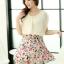 ชุดเดรสสั้นแฟชั่นเกาหลี สีเบจ กระโปรงลายดอกไม้สดใส เอวยืด มีสายผูกเอวน่ารักเก๋ๆ ผ้าชีฟอง ซับใน thumbnail 6