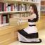 ชุดเดรสยาวแฟชั่นเกาหลี สีขาว-ดำ ผ้าชีฟอง คอกลม แขนกุด เอวยืด ซับใน ขนาดไซส์ L thumbnail 9