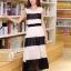 ชุดเดรสยาวแฟชั่นเกาหลี สีขาว-ดำ ผ้าชีฟอง คอกลม แขนกุด เอวยืด ซับใน ขนาดไซส์ L thumbnail 4