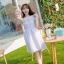 ชุดเดรสสั้นแฟชั่นเกาหลีน่ารักๆ สีม่วง ผ้าแก้วผสมชีฟองมีซับใน หน้าอกสม๊อกยืด แต่งระบาย เอวยืด thumbnail 4