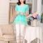 เสื้อแฟชั่นเกาหลี สีเขียวมิ้น ผ้าชีฟอง คอกลม แขนสั้น เอวสายรูด ปลายเสื้อเป็นผ้าแก้วเป็นระบายเก๋ๆ thumbnail 3