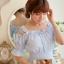 ชุดเดรสสั้นเกาหลีน่ารักลายตาราง สีฟ้าขาว สายเย็บระบายยืดได้ แขนจั๊มแบบแขนตุ๊กตา เอวสม๊อก ผ้าโพลีเอสเตอร์ thumbnail 9