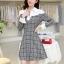ชุดเดรสทำงานสวยๆ เรียบหรู น่ารัก แฟชั่นสไตล์เกาหลี สีเทาลายสก๊อต ดีไซส์เก๋ๆ คอปก ไหล่สีขาว แขนยาว เอวเข้ารูปซิปข้าง ผ้าคอตตอน thumbnail 8