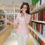 เสื้อสูททำงานผู้หญิงสวยๆ สีชมพูโอรส ผ้าลูกไม้ผสมเลื่อมทอง ทรงเข้ารูป แขนยาว แต่งกระเป๋าหลอก ขนาดไซส์ M thumbnail 2