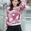 เสื้อแฟชั่นเกาหลีน่ารักๆ สีม่วง พิมพ์ลายเก๋ๆ ผ้าขนนุ่มสบาย คอกลม แขนยาว เอวจั๊ม thumbnail 7