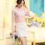 เสื้อเชิ๊ตทำงานผู้หญิง สีชมพูอ่อน ผ้าชีฟอง คอจีนจับจีบน่ารักๆ แขนยาว กระดุมผ่าหน้า thumbnail 3