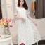 ชุดเดรสออกงานสวยหรูสไตล์เกาหลี สีขาว ผ้าซีทรูปักลายดอกไม้ คอกลม แขนสั้น ซิปข้าง ซับในอย่างดี ไซส์ M thumbnail 1