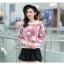 เสื้อแฟชั่นเกาหลีน่ารักๆ สีม่วง พิมพ์ลายเก๋ๆ ผ้าขนนุ่มสบาย คอกลม แขนยาว เอวจั๊ม thumbnail 6
