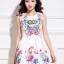 ชุดเดรสสั้นสีขาวลายดอกไม้สีสันสดใส แขนกุด เอวเข้ารูป สวยหวานสไตล์เกาหลี ไซส์ L thumbnail 10