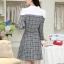 ชุดเดรสทำงานสวยๆ เรียบหรู น่ารัก แฟชั่นสไตล์เกาหลี สีเทาลายสก๊อต ดีไซส์เก๋ๆ คอปก ไหล่สีขาว แขนยาว เอวเข้ารูปซิปข้าง ผ้าคอตตอน thumbnail 5