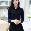 ชุดเดรสน่ารักแฟชั่นเกาหลี สีกรมท่า ผ้าคอลตอล คอปกเชิ้ต แขนยาว กระดุมผ่าหน้า thumbnail 1