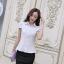 เสื้อเชิ๊ตทำงานผู้หญิง สีขาว คอปก แขนสั้น กระดุมผ่าหน้า ด้านหน้าผ้าลูกไม้ ด้านหลังเป็นผ้าชีฟอง thumbnail 10