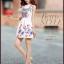 ชุดเดรสสั้นสีขาวลายดอกไม้สีสันสดใส แขนกุด เอวเข้ารูป สวยหวานสไตล์เกาหลี ไซส์ L thumbnail 2
