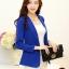 เสื้อสูททำงานสีน้ำเงิน ทรงเข้ารูป คอปก แขนยาว ผ้าโพลีเอสเตอร์ มีซับใน ไซส์ L