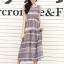ชุดเดรสยาวแฟชั่นเกาหลี Maxi Dress สีเบจ น้ำเงิน พิมพ์ลายกราฟฟิค คอกลม แขนกุด เอวยืด ผ้าชีฟอง ซับใน thumbnail 1