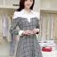 ชุดเดรสทำงานสวยๆ เรียบหรู น่ารัก แฟชั่นสไตล์เกาหลี สีเทาลายสก๊อต ดีไซส์เก๋ๆ คอปก ไหล่สีขาว แขนยาว เอวเข้ารูปซิปข้าง ผ้าคอตตอน thumbnail 1