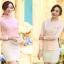 เสื้อเชิ๊ตทำงานผู้หญิง สีชมพูอ่อน ผ้าชีฟอง คอจีนจับจีบน่ารักๆ แขนยาว กระดุมผ่าหน้า thumbnail 5