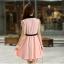 ชุดเดรสทำงานสวยๆ สีชมพู ผ้าชีฟอง ลุคสาวทำงานเรียบๆ น่ารักๆ thumbnail 3