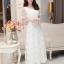 ชุดเดรสออกงานสวยหรูสไตล์เกาหลี สีขาว ผ้าซีทรูปักลายดอกไม้ คอกลม แขนสั้น ซิปข้าง ซับในอย่างดี ไซส์ L thumbnail 4
