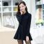 ชุดเดรสน่ารักแฟชั่นเกาหลี สีกรมท่า ผ้าคอลตอล คอปกเชิ้ต แขนยาว กระดุมผ่าหน้า thumbnail 2