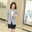 เสื้อสูททำงานผู้หญิง สีดำ ลายน่ารักๆ คอปก แขนยาว กระดุม 1 เม็ด ผ้าคอลตอล thumbnail 9