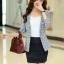 เสื้อสูททำงานผู้หญิง สีดำ ลายน่ารักๆ คอปก แขนยาว กระดุม 1 เม็ด ผ้าคอลตอล thumbnail 4