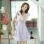 ชุดเดรสทำงานแฟชั่นเกาหลี สีม่วง ผ้าลูกไม้ซับใน คอกลม แขนสั้น ซิปข้าง ไซส์ L thumbnail 7