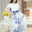 ชุดเดรสยาวสีขาวลายดอกไม้ ผ้าชีฟอง แขนสั้นระบาย เอวยืด กระโปรงลายดอกไม้สีฟ้า พร้อมริ้บบิ้นผูกเอวเข้าชุด ไซส์ XL thumbnail 1
