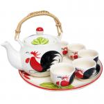 ชุดกาน้ำชา(เซรามิก) ตราไก่(จานกลม)