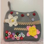 <พร้อมส่ง> กระเป๋าคลัทช์ แฮนด์เมด สีเทา ลายดอกไม้