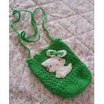 <พร้อมส่ง> กระเป๋าห้อยแฮนด์เมดคิตตี้ Hello Kitty สีเขียว