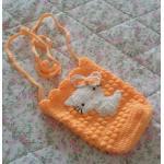 <พร้อมส่ง> กระเป๋าห้อยแฮนด์เมดคิตตี้ Hello Kitty สีส้มอ่อน