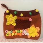 <พร้อมส่ง> กระเป๋าคลัทช์ แฮนด์เมด สีน้ำตาล ลายดอกไม้