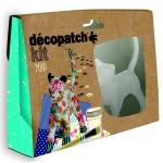 Decopatch - MINI KIT เซ็ตโมเดลกระดาษแข็งสำเร็จรูปแมวสำหรับทำงานศิลปะ ขนาด3.5 x 19 x 13.5 ซ. ม. พร้อมอุปกรณ์ในกล่องโมเดลกระดาษแข็งรูปทรงแมว , กาว 1 ขวด, พู่กัน 1 ด้าม, กระดาษdecopatch