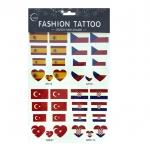 Temporary Sticker Tattoo แทททูลอกน้ำ สติ๊กเกอร์ สเปน เซ็ก ตุรกีคอสตาริกา Spain Czech Turkey Croatia
