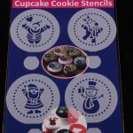 แผ่นแต่งหน้าคัพเค้ก คุ๊กกี้ แต่งหน้ากาแฟ 4 แบบ ลายตุ๊กตาหิมะ CAKE STENCILS BAKE236