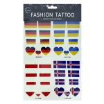Temporary Sticker Tattoo แทททูลอกน้ำ สติ๊กเกอร์ เยอรมนี ยูเครนโปแลนด์ ไอซ์แลนด์ Germany Ukraine Poland Iceland