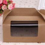 กล่องใส่คัพเค้ก 2 หลุม แบบหูหิ้ว กระดาษคราฟท์ ด้านหน้าใส 5 กล่อง BAKE186