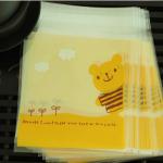 ถุงใส่คุ๊กกี้ ใส่ขนม ขนาด 10X10+3 CM 100 ถุง สีเหลือง BAKE200