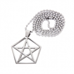 Stainless Steel Five-pointed Star Pendant Ball Beads Chain Necklace