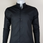 เสื้อเชิ้ตผู้ชายสีดำ แขนยาว คอจีน