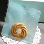 ถุงใส่คุ๊กกี้ ใส่ขนม ขนาด 10X10+3 CM 100 ถุง สีฟ้า BAKE080