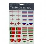 Temporary Sticker Tattoo แทททูลอกน้ำ สติ๊กเกอร์ อังกฤษ รัสเซียโปรตุเกส ฮังการี England Russia Portugal Hungary