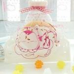 ถุงใส่คุ๊กกี้ ใส่ขนม ขนาด 10X10+3 CM 100 ถุง ลายการ์ตูนแมว ชมพู BAKE084