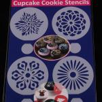 แผ่นแต่งหน้าคัพเค้ก คุ๊กกี้ แต่งหน้ากาแฟ 4 แบบ ลายดอกไม้ CAKE STENCILS BAKE231